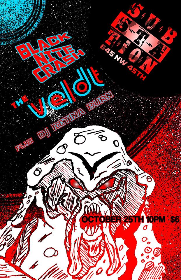25 Oct 2016 - Black Nite Crash, The Veldt, DJ Retina Burn - Substation (2016 Neon Sigh)